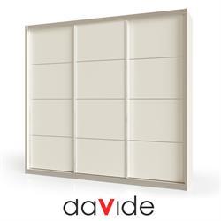 ארון הזזה 3 דלתות רוחב 180 דגם SIMPLE עם מסגרת אלומיניום